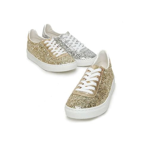 s glitter gold silver white platform lace up
