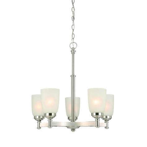 Hton Bay 5 Light Chandelier Hton Bay 5 Light Brushed Nickel Chandelier With Frosted Glass Shade Iut8115a 3 The Home Depot