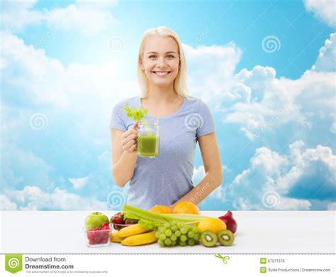 Detox Person by Smiling Juice Or Shake Sky Stock Photo