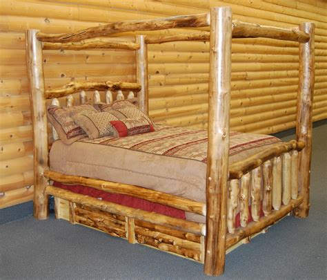 log canopy bed aspen log canopy bed rustic log furniture of utah