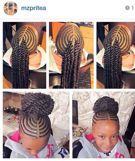 black natural hair dos with cane rows corn rowed hair with extension twists into a bun kiddie