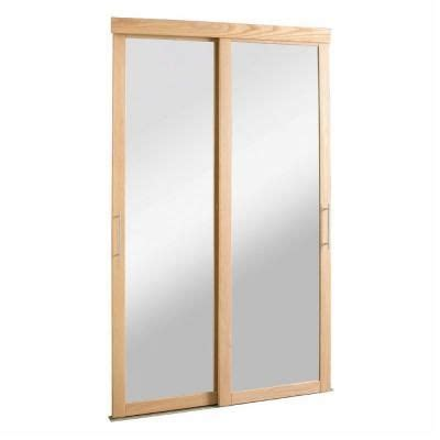 Mirrored Closet Doors Home Depot 48 In X 80 1 2 In Sliding Mirror Zen Oak Frame