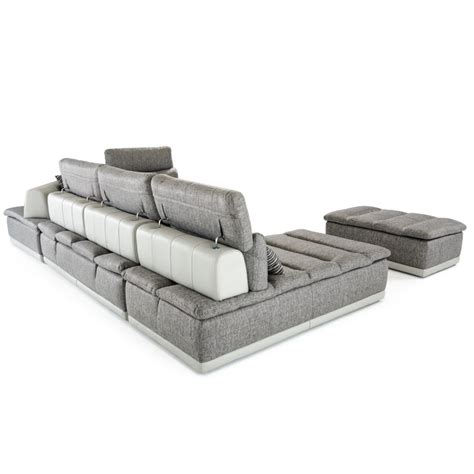 grey leather and fabric sofa david panorama modern grey fabric grey