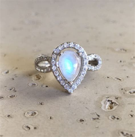 Moonstone Ring pear shape engagement ring moonstone engagement ring rainbow