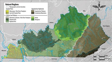 kentucky geographical map regions of kentucky social studies science