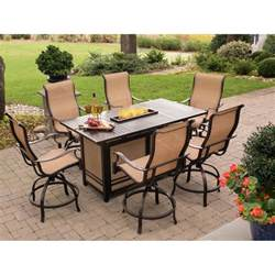 outdoor dining table with pit monaco 7 high dining bar set with 30 000 btu