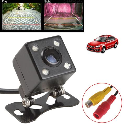 universal waterproof rear view wide angle car back ccd 4 led light