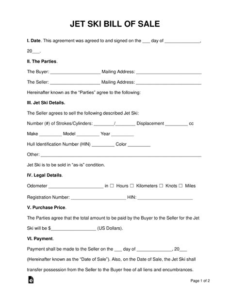 pa boat registration search free jet ski bill of sale form word pdf eforms