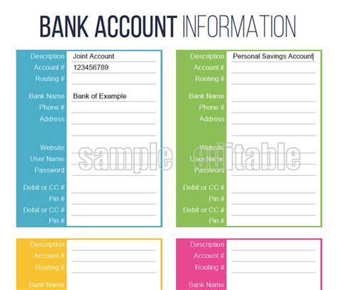 bank account information bank account information printable editable personal