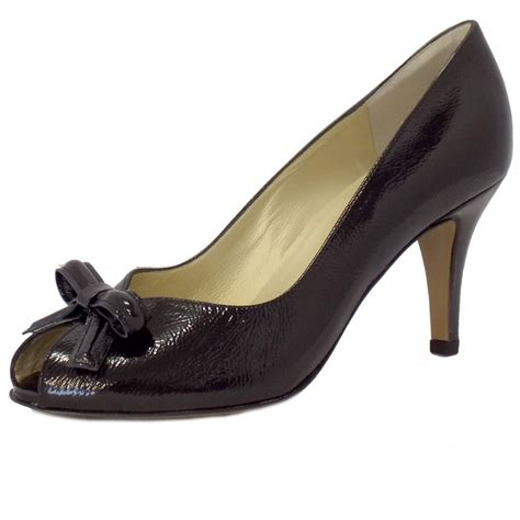 Peep Toe Shoes by Kaiser Suomi Black Patent High Heel Peep