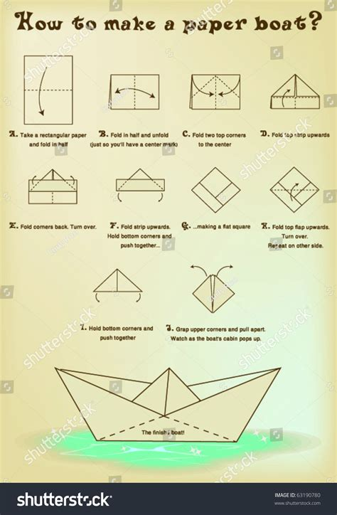 Make A Paper Boat - how make paper boat stock vector 63190780