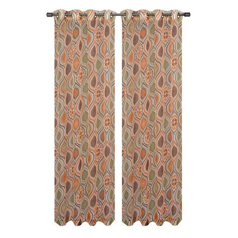 rust curtain panels window elements olina printed sheer rust grommet extra