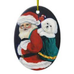 bichon frise and santa art christmas ornament zazzle