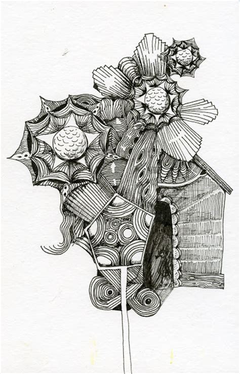 pen and ink doodles gift wrapped birdhouse in pen and ink stillman birn