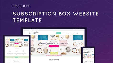 subscription card template on a website freebie free subscription box website template
