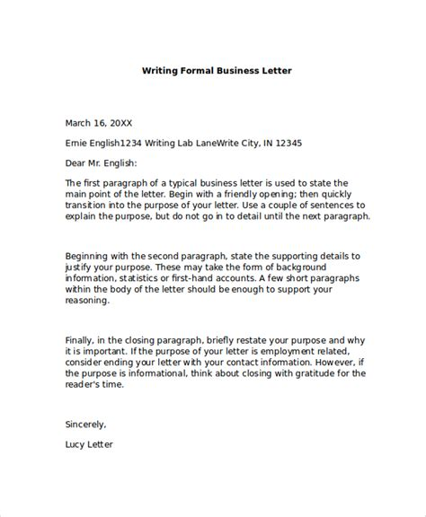 a business letter format exle formal business letter format 8 exles in pdf word