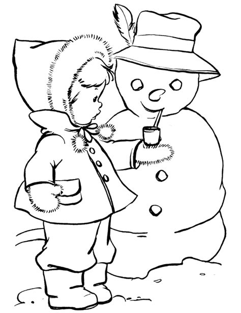 winter coloring pages pdf little girl and mr snowman coloring pages winter