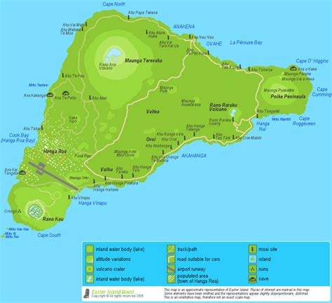 map of islands detailed easter island map map of rapa nui roads moai