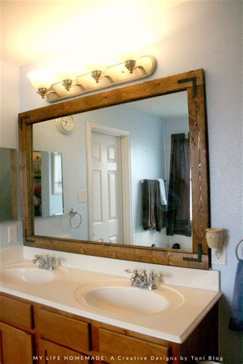 Update Bathroom Mirror My Easy Bathroom Mirror Wood Frame Update