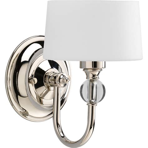 Polished Nickel Wall Sconce Shop Progress Lighting Fortune 5 87 In W 1 Light Polished Nickel Arm Wall Sconce At Lowes