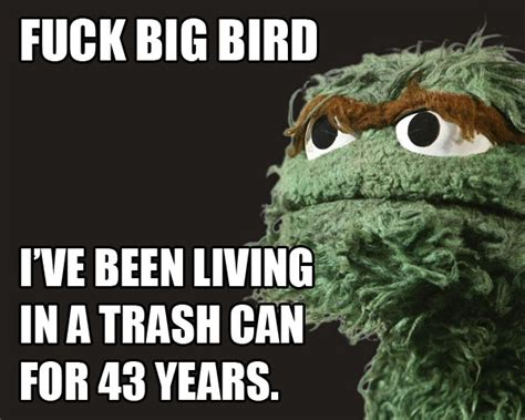 Oscar The Grouch Meme - oscar the grouch hates big bird fired big bird mitt