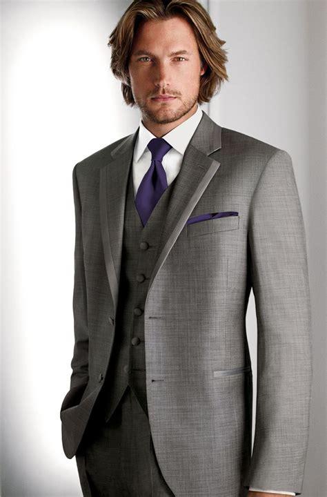 grey suit purple tie and pocket square gray vest calvin