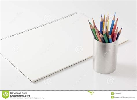 sketchbook and pencils colored pencil and sketchbook stock photo image 23885760