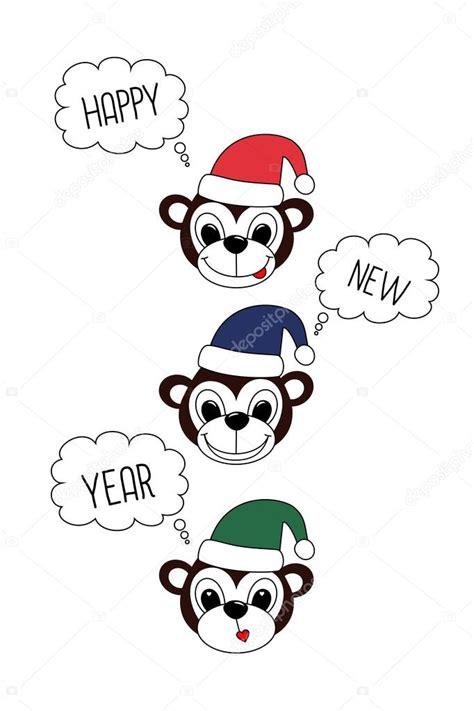 new year 2016 white background monkey happy new year 2016 symbol card on white