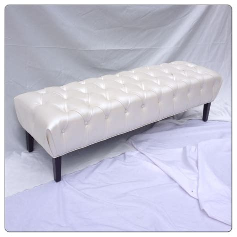 tufted upholstered bench tufted bench upholstered bench faux leather ivory bench off