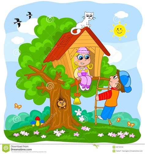 kids in the house children playing in a tree house stock vector image 26718134