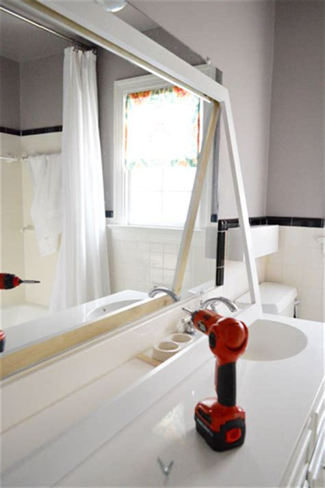 how to make frame for bathroom mirror how to build a wood frame around a bathroom mirror young