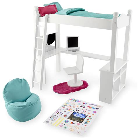journey girl bunk bed white varnished twin loft bed with l shaped desk