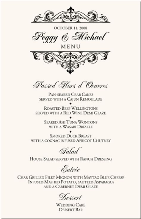 wedding menu cards vintage monogram menu cards special