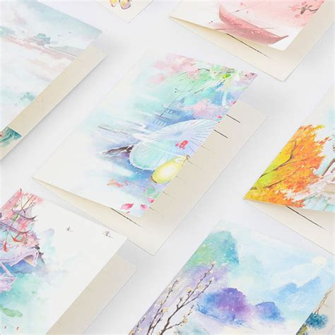 classical chinese watercolor folding message card  envelope christmas  year birthday
