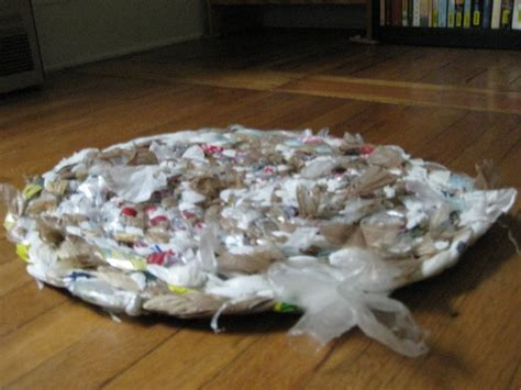 How To Make A Plastic Bag Rug by Lint And Plastic Bag Woven Rug In The Works