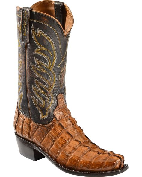 square toed cowboy boots for lucchese s landon caiman cowboy boot narrow