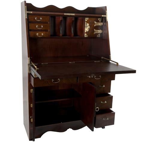 Oriental Furniture Korean Antique Style Drop Leaf Secretarial Desk