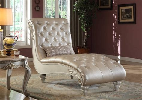 meridian furniture marquee pearl white chaise  classy