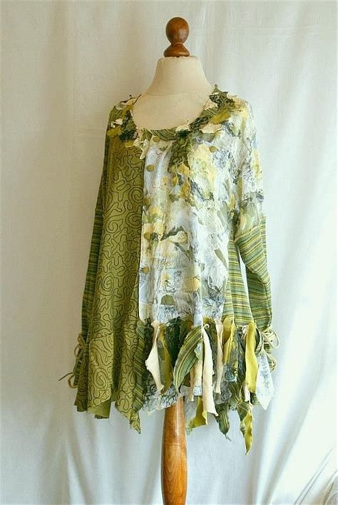 woman s upcycled clothing olive yellow tunic tattered