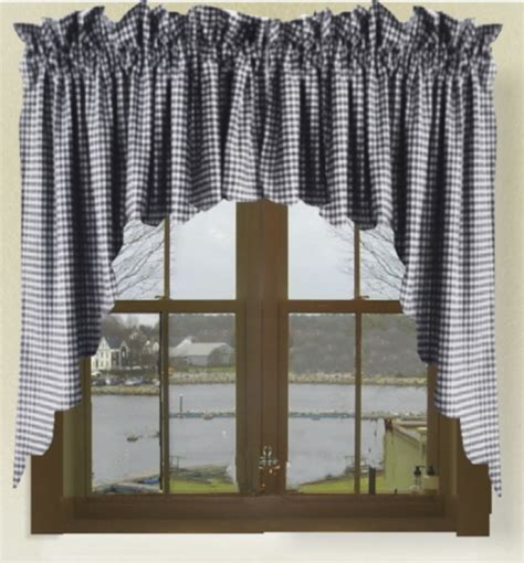 Blue Valance Curtains Navy Blue Gingham Check Scalloped Window Swag Valance Set