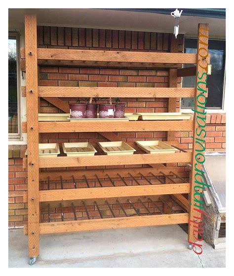 diy outdoor plant shelf system for hardening seedlings