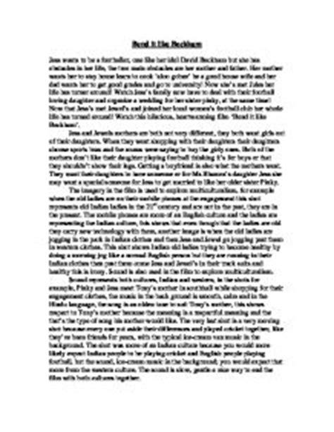 Bend It Like Beckham Essay by Bend It Like Beckham Essay Media Gcse Marked By Teachers
