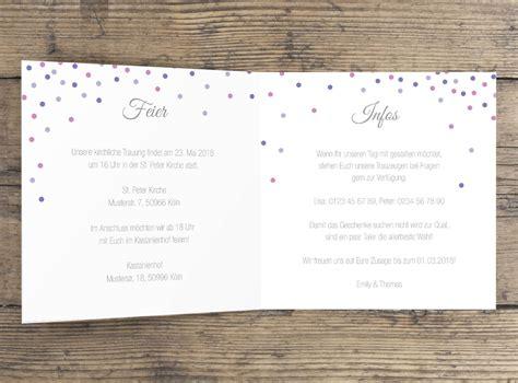 Hochzeitseinladung Klappkarte by Quot Happy Confetti Quot Hochzeitseinladung Klappkarte Paper