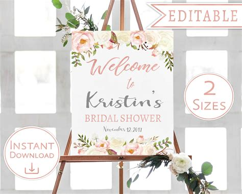 bridal shower welcome sign template bridal shower welcome sign floral white blush watercolor