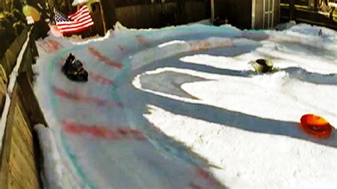 backyard luge watch kids fly down quot looney luge quot backyard sled track