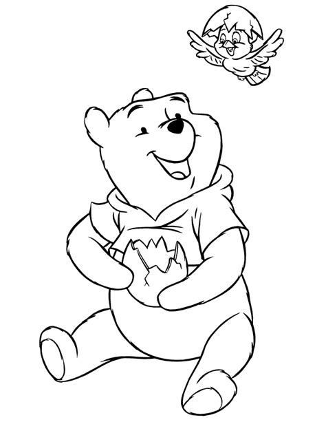 bird hatching coloring page winnie the pooh with hatching baby bird coloring page