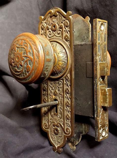 Rare Antique Victorian Cast Bronze Interior Door Lockset Antique Interior Door Hardware