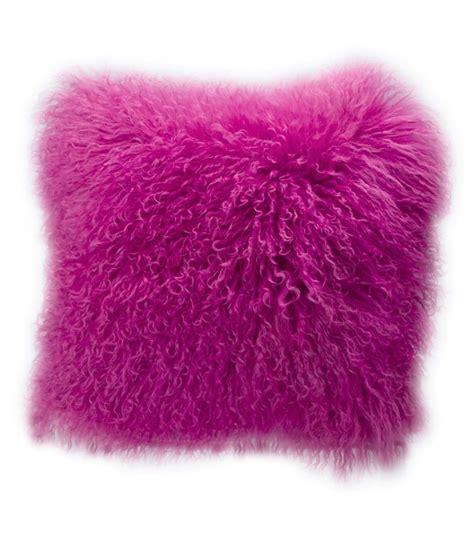 pink mongolian fur bench real mongolian fur cushion pink