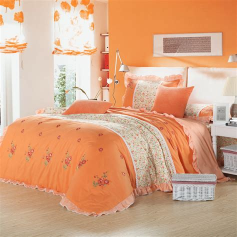country style bedding country style pink green orange flower print embroidered