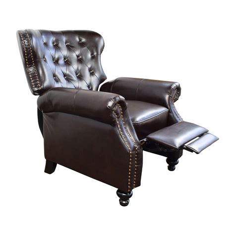 in recliner 58 off tufted brown leather recliner chairs